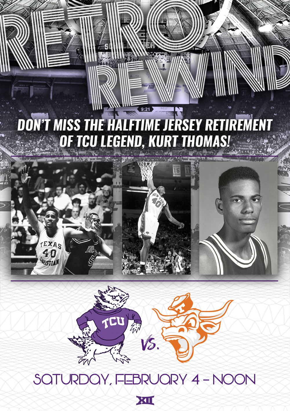 34b2b472fc0 Make sure to be in your seats at halftime as we retire the jersey of TCU  basketball legend Kurt Thomas!